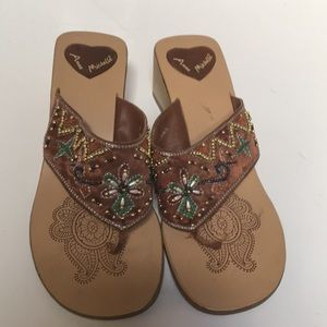 Beaded Thong Sandals 9